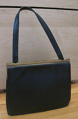 Vintage Black Purse Gold frame snap clasp 1950s or 1960s