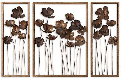 """Set of 3, Contemporary Metal Tulips Wall Art in Aged Gold Leaf Finish, 40""""x27"""