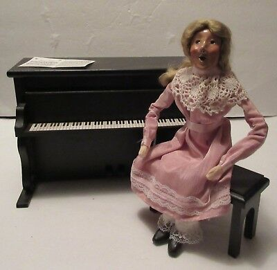 """Byers' Choice Carolers """"Louise"""" With Piano and Stool, First Edition, Circa 1995"""