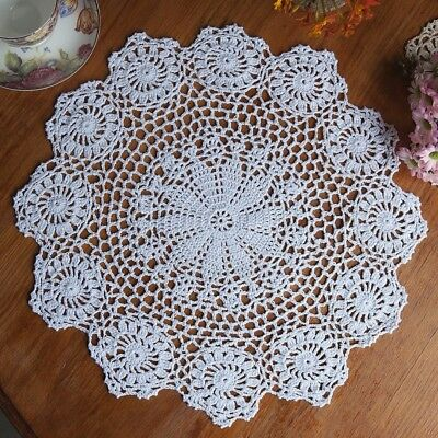 14 inch Vintage Cotton Handmade Coasters Doily Round Crochet Lace Placemat