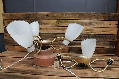 Vintage 1960's Retro Light fittings With Ribbon Shade Retro Gold Anodised  50's
