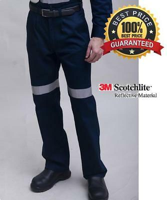 Navy Cotton drill work trousers pants with 3M tape, heavy or light weight