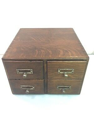 Antique Oak Dovetailed Library 4 Drawer Index Card Cabinet File Wood