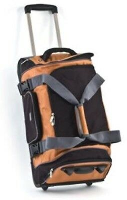 """The Sharper Image 24"""" Tangerine Rolling Duffle Bag New Msrp $200 Great Gift"""
