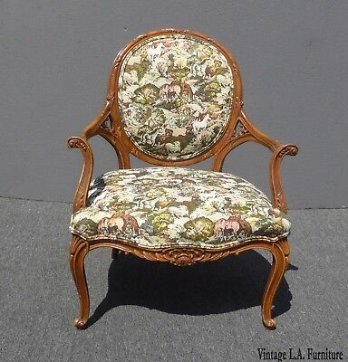 Ornately Carved Vintage French Country Style Floral Print Accent Chair