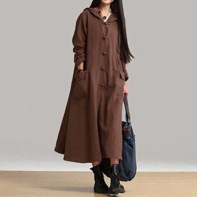 Women Vintage Style V Neck Long Sleeve Cotton Casual Loose Hooded Dress