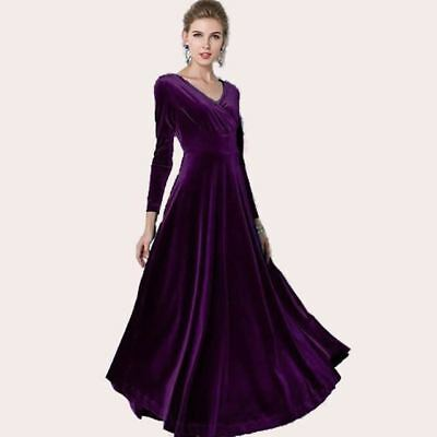 Long Sleeve V Neck Vintage  Style Party Wear Dress For Women