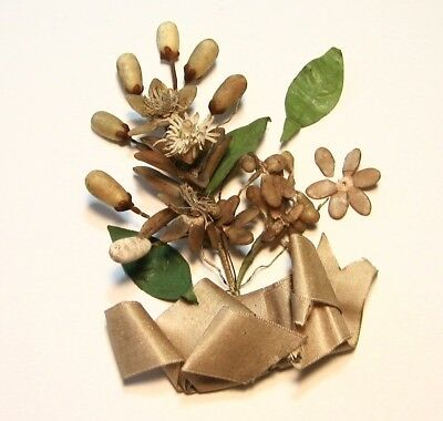 OLD Antique Victorian French Wax Flowers Buds Leaves Scraps Tiara Bridal Wedding