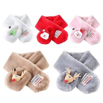 Baby Kids Girls Neck Warmer Plush Scarf Shawl Winter Christmas Pattern Wraps