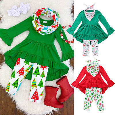 US STOCK Toddler Kids Baby Girl Outfit Clothes Long Dress Shirt Tops+Long Pants