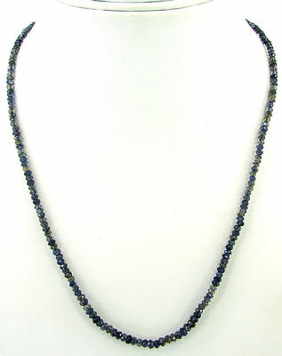 "28 Ct Natural Blue Iolite Gemstone Rondelle Beads Necklace 17"" String - B168"
