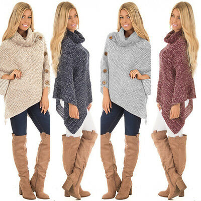 Women's Chic Turtleneck Knitted Poncho Pullovers Oversized Buttons Solid Sweater
