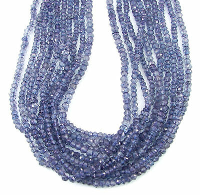 "36 Ct Natural Blue Crystal Quartz Gemstone Rondelle Loose Beads String 13""- B209"