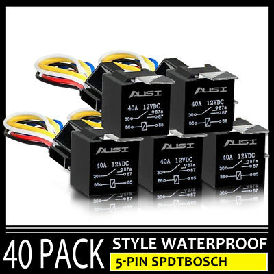 DC 12V Car SPDT Automotive Relay 5 Pin 5 Wires w/Harness Socket 30/40 Amp 40PCS