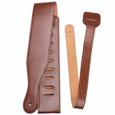 Brown Adjustable Soft PU Thick Strap for Electric Acoustic Guitar Bass O9Z8