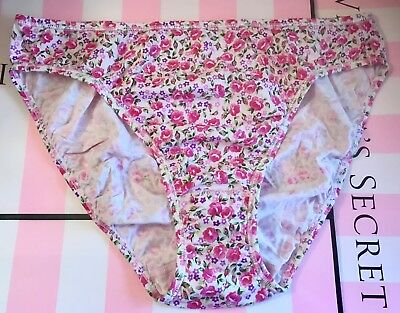 Victoria's Secret Xl Multi Floral 100% Cotton Rare Vintage Hi Leg  Brief Panties