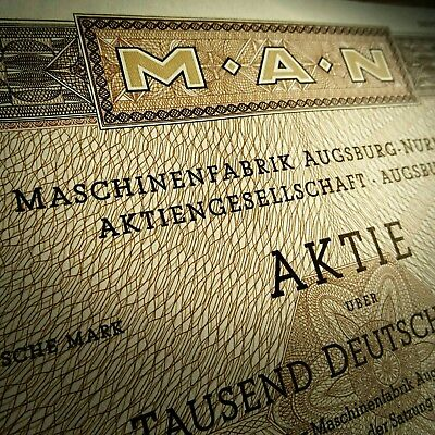 Original MAN Aktie  1000 Deutsche Mark