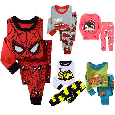 AU Cotton Kids Baby Boys Girls Cartoon Sleepwear Nightwear Pyjamas Pj's Outfits