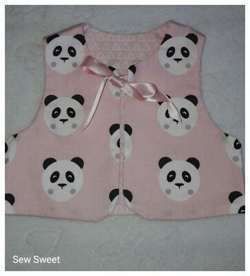 Handmade baby sleeveless vest top in pink panda fabric  size 0/3 months
