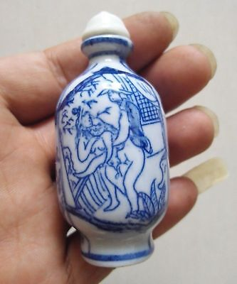 exquisite China Hand-painted men&woman ceramics Snuff bottle F4