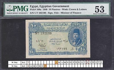 Egypt 10 piastres 1940 FAROUK ISSUE U/7 M.ZAKY sign. pick#168a PMG AU53