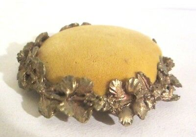 ANTIQUE VELVET PIN CUSHION SEWING Gold tone Ornate Flowers - excellent condition