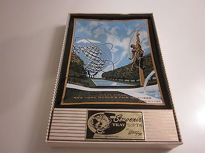 NIB 1964 NEW YORK WORLD'S FAIR SMOKED GLASS SOUVENIR TRAY Main Mall BY HOUZE ART