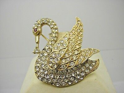 Vintage Attwood & Sawyer Gold Tone Paste Swan Brooch Pin