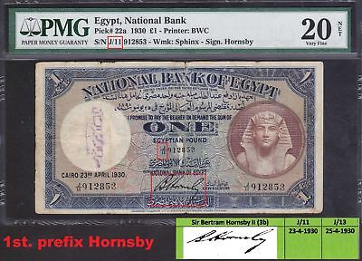 Egypt 1 pounds 1930 OPEN prefix J/11 Hornsby sign. pick#22a VF 20 NET