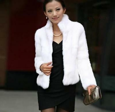 2016 Hot Women Winter black Collar Warm Faux Fur Long Sleeve Jacket Coat