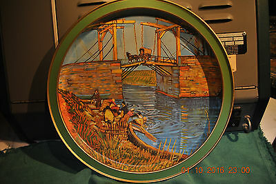 THE LANGOLOIS BRIDGE at ARLES   VINTAGE METAL SERVING TRAY  by  VINCENT VAN GOGH
