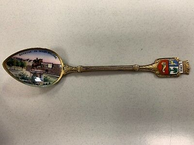 Antique souvenir spoon Lima Peru Enamel Scene