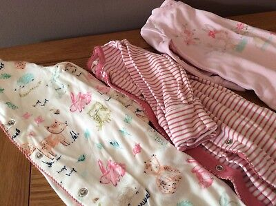 Baby girl  3-6 months 3 sleepsuits bundle