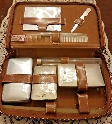 Vintage 1940's Men's Sovereign Travel Grooming Kit Leather Case Made in USA