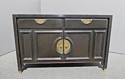 Vintage Oriental Asian Black Buffet Sideboard Dry Bar by CENTURY FURN CO.