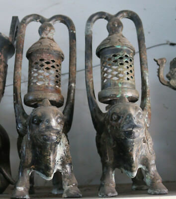 """18"""" Rare China Old Bronze Ware Ancient Cattle Bull Oil Lamp Lamps Statue Pair"""
