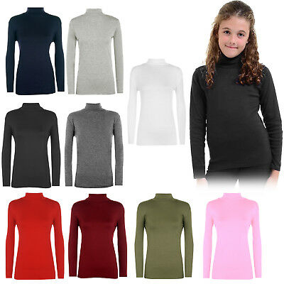 Kids Plain Polo Top Winter Girls Boys Uniform Long Sleeve Roll Neck 3-13 Years