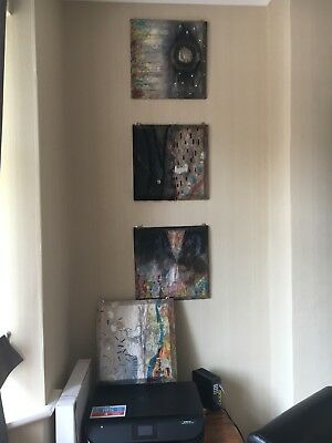 4 X Square Mixed Media Canvas Pictures