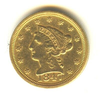 1847 C Liberty Quarter Eagle AU++ $2.50 Gold Scarce Charlotte Mint Issue