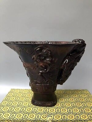 Chinese Antique Horn Hand carved dragon wine glasses cup Home Decoration sl