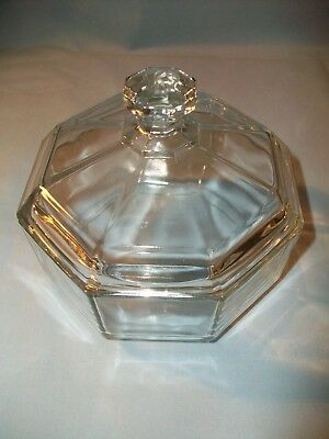 Arcoroc France Clear Glass Octagon Covered Candy Dish JG Durand