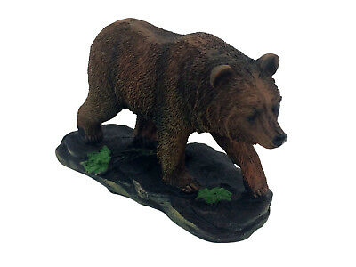 Brown Grizzly Bear Poly-Resin Statue Figurine Home Decor Right