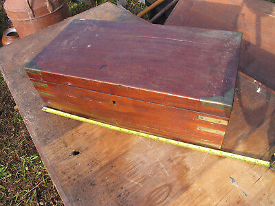 Large Wooden Writing Slope for Restoration brass campaign fittings hidden drawer