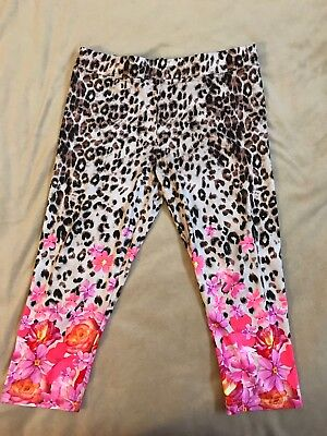 NWT Justice size 20 Leggings Leopard Print Floral