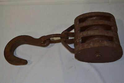Vintage Large Nautical Barn Wooden Pulley With Huge Hook
