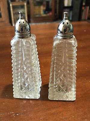 Vintage Clear Glass Salt and Pepper Shakers
