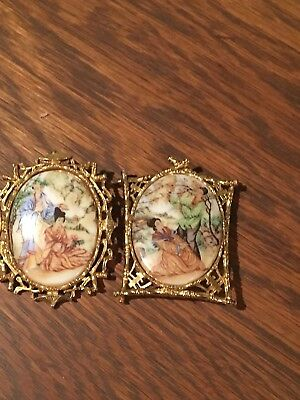 Vintage Oriental Brooches / Pagoda / Gold Tone / Transfer Or Painted/ Signed Art