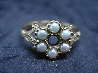 Vintage Solid 9Ct Hallmarked Gold & Pearl Ladies Ring (Edinburgh)