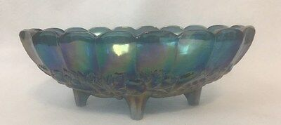 Vtg Iridescent Blue Green Carnival Indiana Glass Footed Oval Center Fruit Bowl
