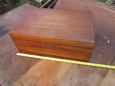 Wooden Writing Slope for Restoration, leather, bone? handle, brass fittings